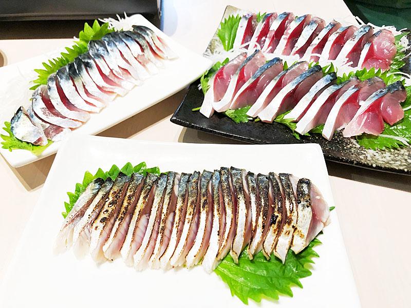左からしめ鯖、炙りしめ鯖、刺身